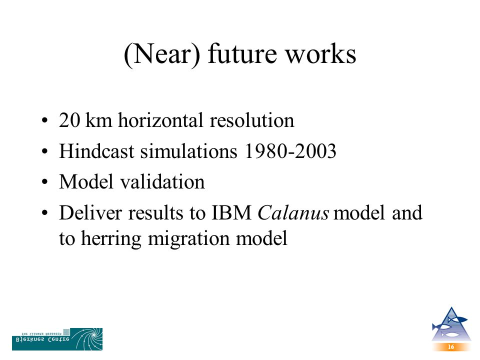 16 (Near) future works 20 km horizontal resolution Hindcast simulations Model validation Deliver results to IBM Calanus model and to herring migration model