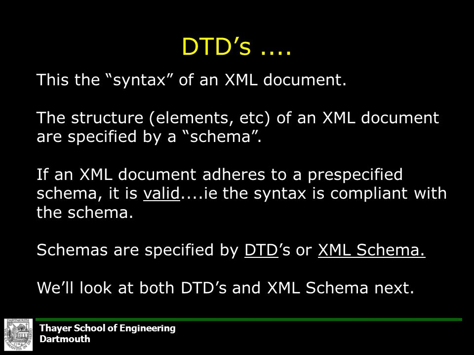 Thayer school of engineering dartmouth class overview dtd project thayer school of engineering dartmouth dtds this the syntax of an xml ccuart Gallery