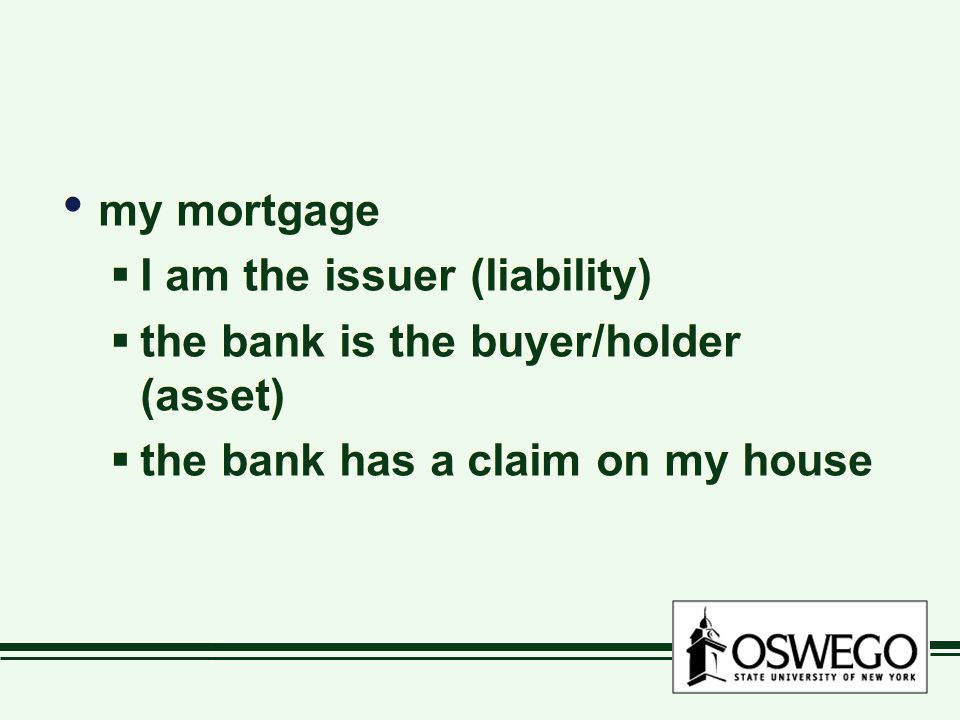 my mortgage  I am the issuer (liability)  the bank is the buyer/holder (asset)  the bank has a claim on my house my mortgage  I am the issuer (liability)  the bank is the buyer/holder (asset)  the bank has a claim on my house