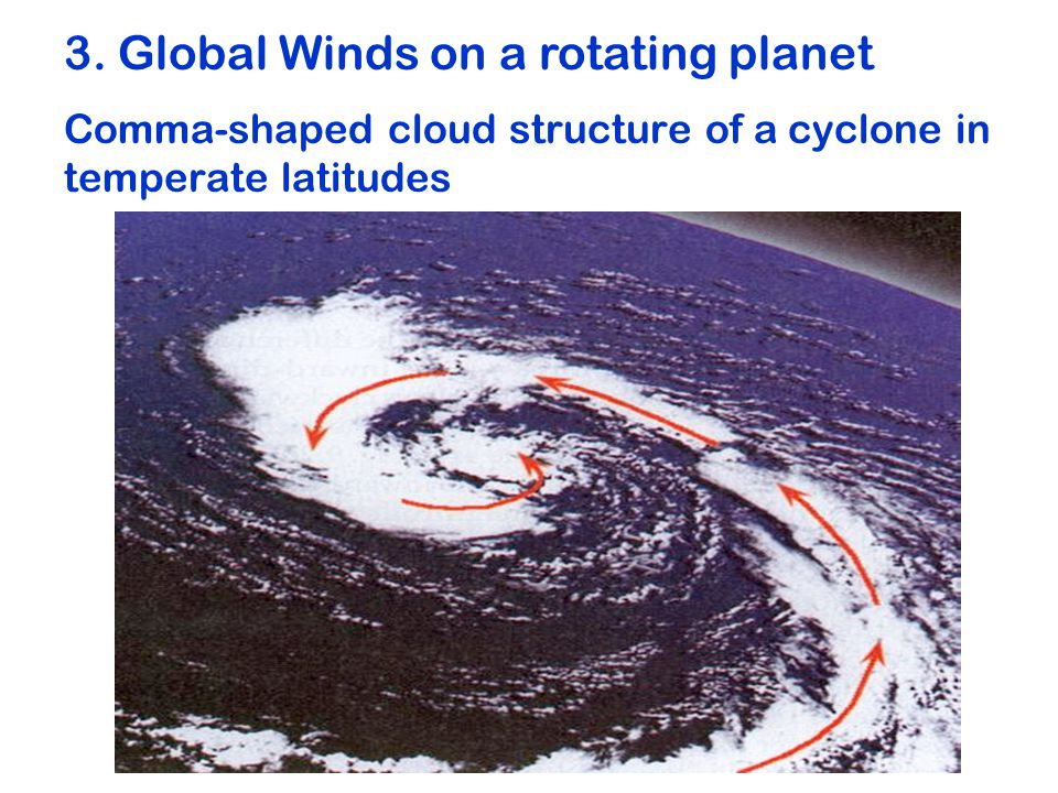 Comma-shaped cloud structure of a cyclone in temperate latitudes 3.
