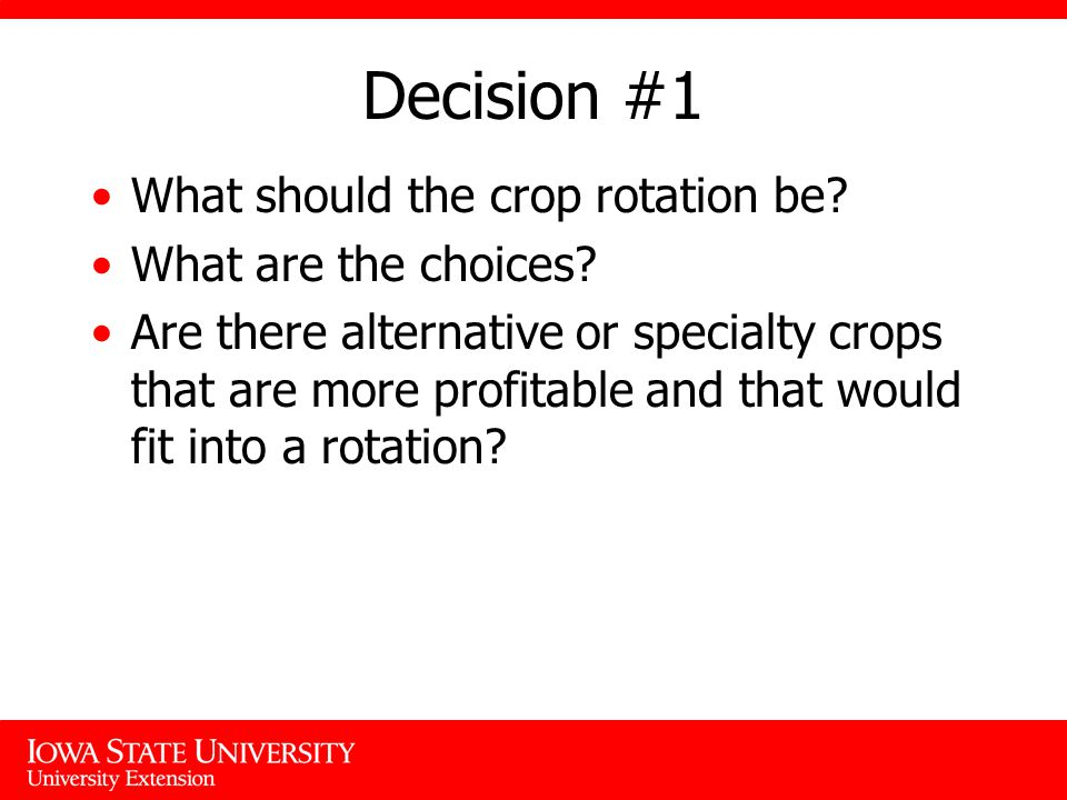 Decision #1 What should the crop rotation be. What are the choices.