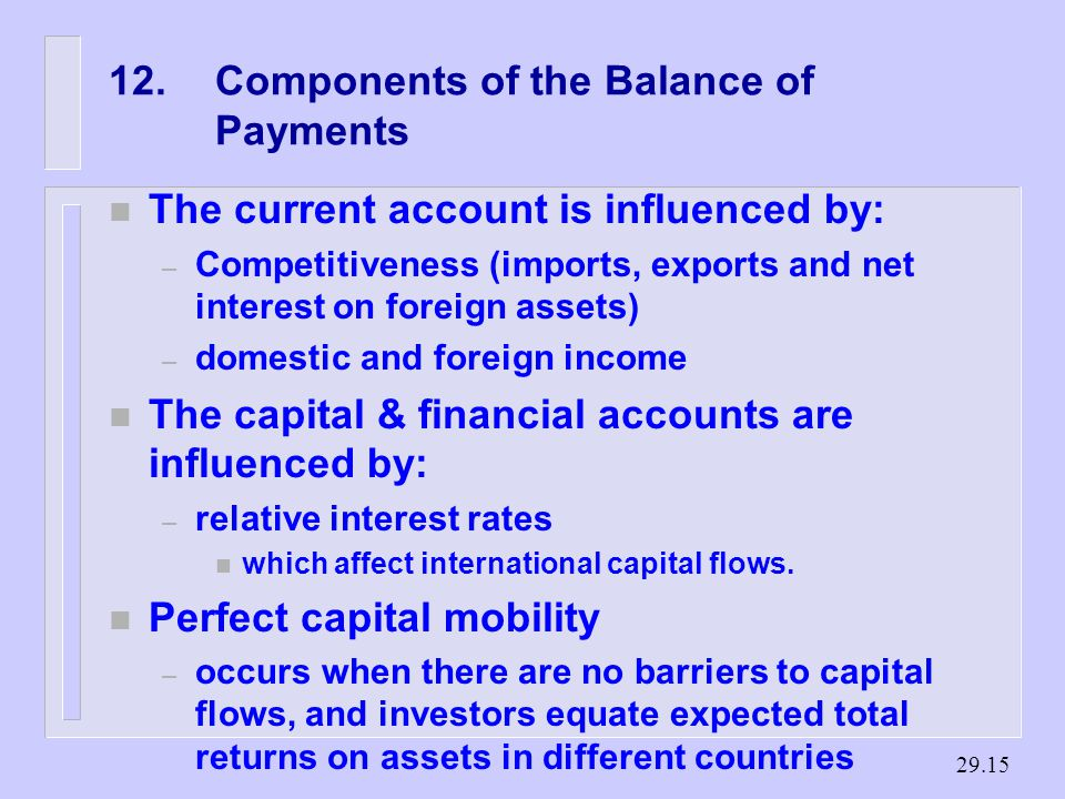 Components of the Balance of Payments n The current account is influenced by: – Competitiveness (imports, exports and net interest on foreign assets) – domestic and foreign income n The capital & financial accounts are influenced by: – relative interest rates n which affect international capital flows.