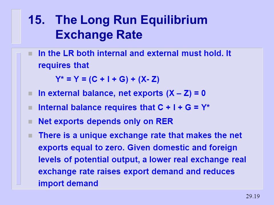 The Long Run Equilibrium Exchange Rate n In the LR both internal and external must hold.