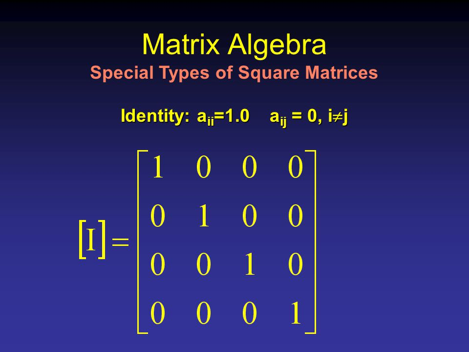 Matrix Algebra Identity: a ii =1.0 a ij = 0, i  j Special Types of Square Matrices