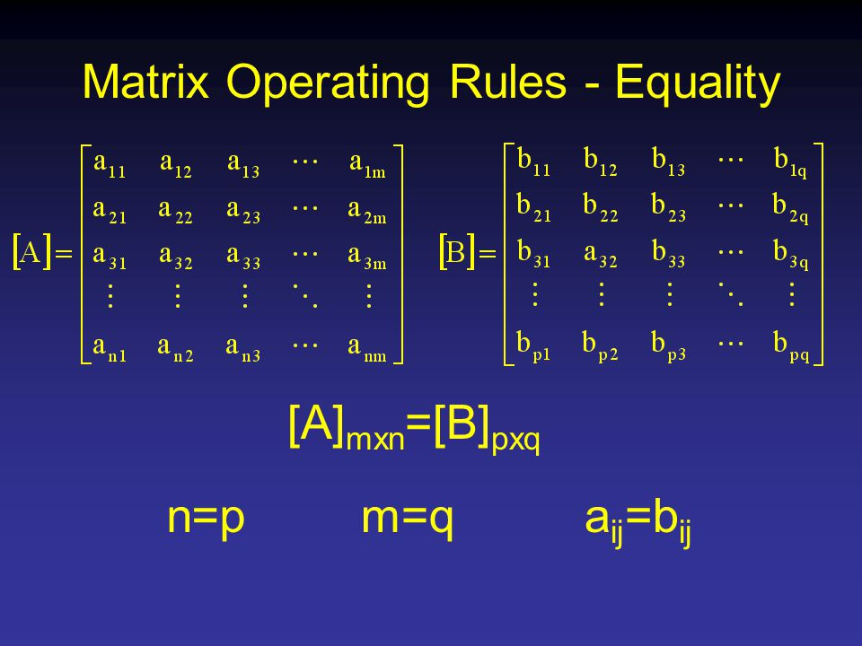 Matrix Operating Rules - Equality [A] mxn =[B] pxq n=pm=qa ij =b ij