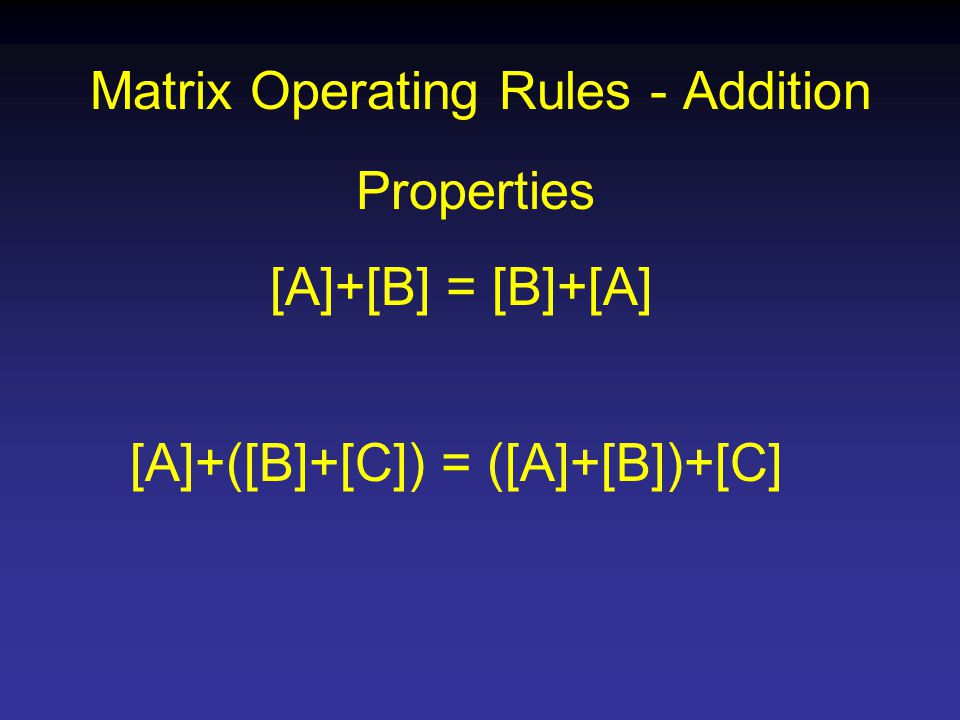 Matrix Operating Rules - Addition Properties [A]+[B] = [B]+[A] [A]+([B]+[C]) = ([A]+[B])+[C]