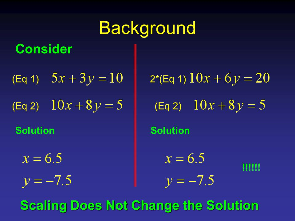 Background Consider (Eq 1) (Eq 2) Solution 2*(Eq 1) (Eq 2) Solution !!!!!.