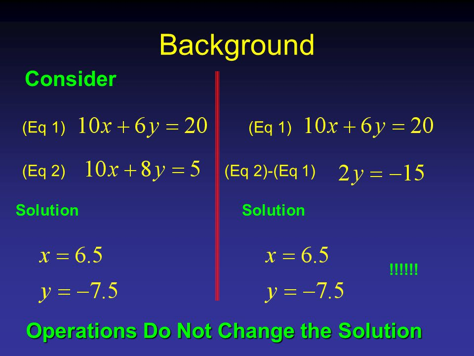 Background Consider (Eq 1) (Eq 2)-(Eq 1) Solution !!!!!.