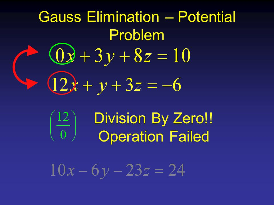Gauss Elimination – Potential Problem Division By Zero!! Operation Failed