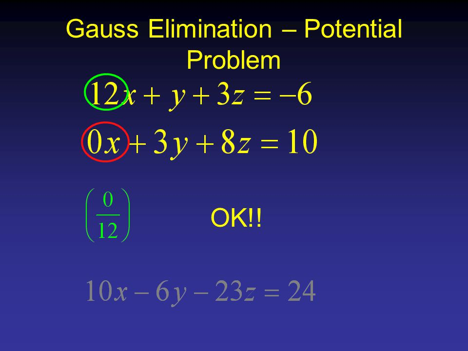 Gauss Elimination – Potential Problem OK!!