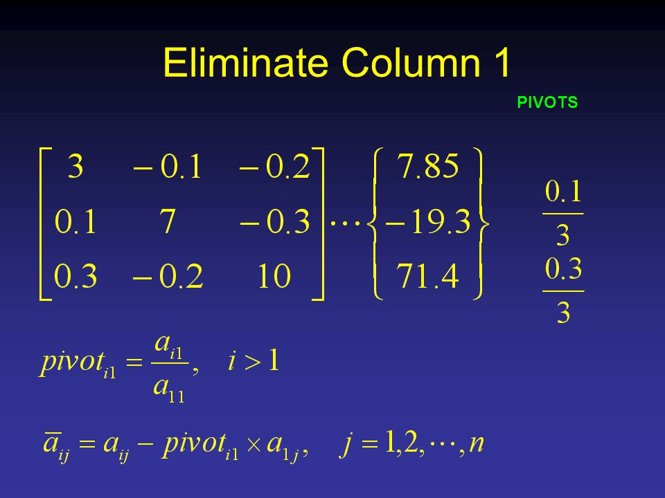 Eliminate Column 1 PIVOTS