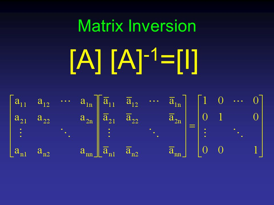 Matrix Inversion [A] [A] -1 =[I]