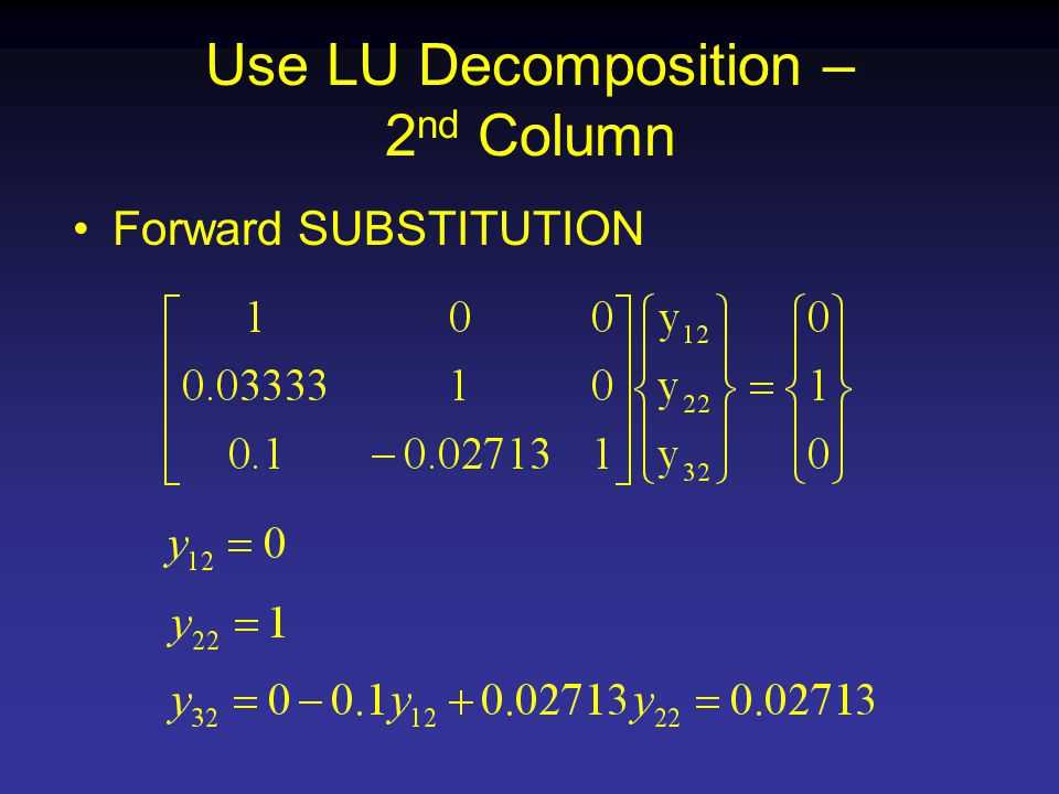 Use LU Decomposition – 2 nd Column Forward SUBSTITUTION