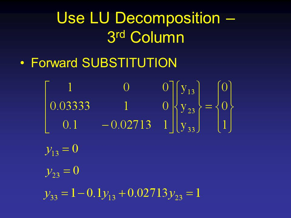 Use LU Decomposition – 3 rd Column Forward SUBSTITUTION