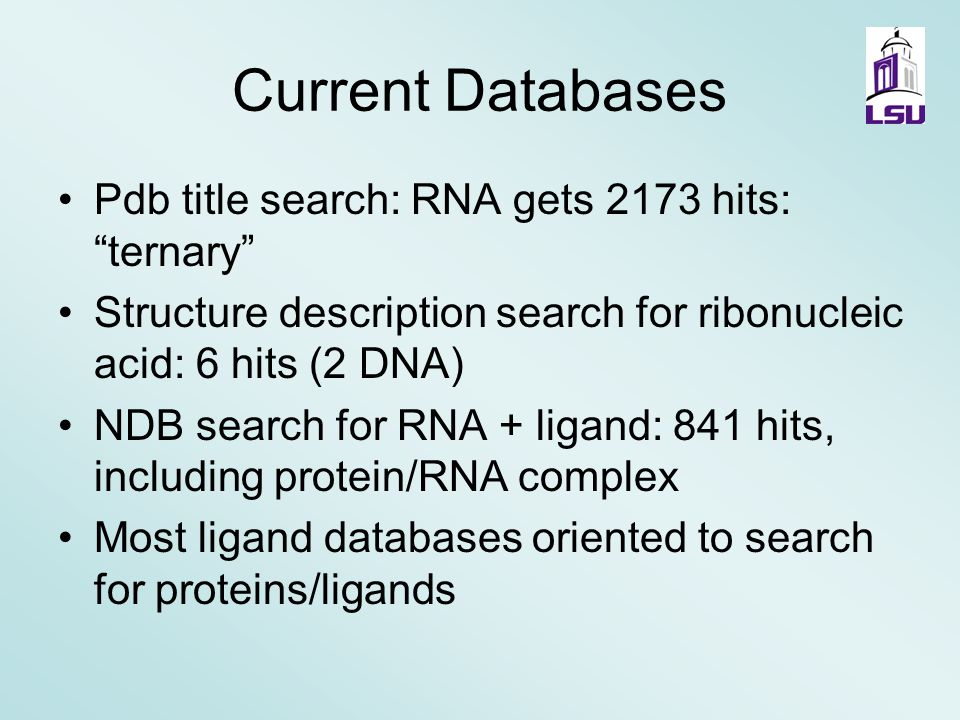 Design of Small Molecule Drugs Targeted to RNA RNA Ontology Group