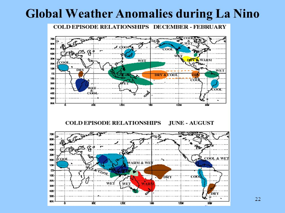 22 Global Weather Anomalies during La Nino