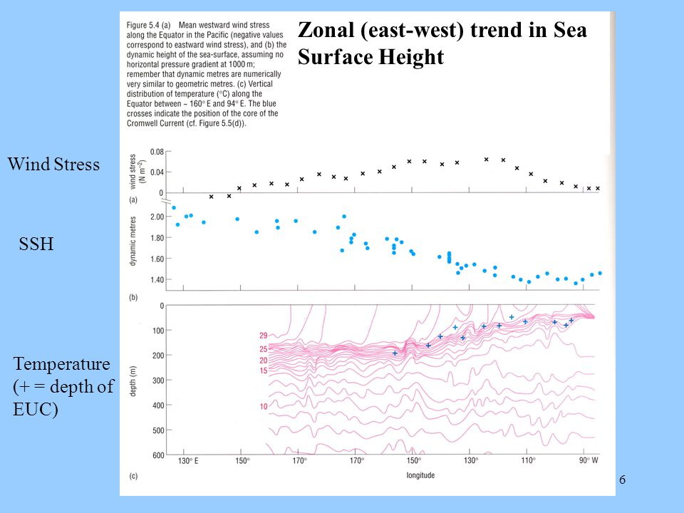 6 Zonal (E-W) Trend in Sea Surface Height Zonal (east-west) trend in Sea Surface Height Wind Stress SSH Temperature (+ = depth of EUC)