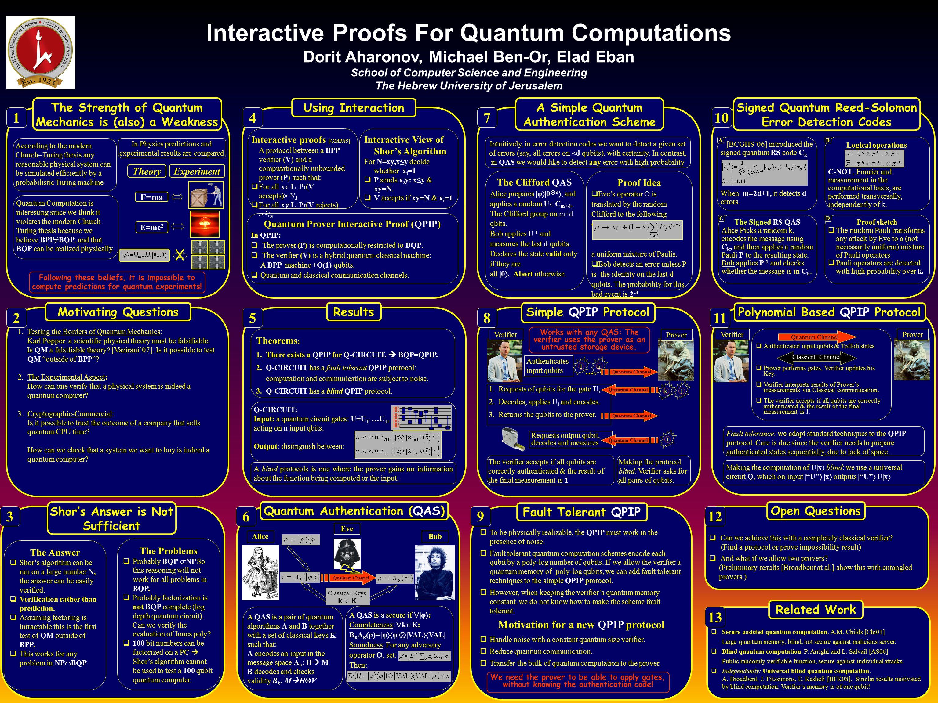 Interactive Proofs For Quantum Computations Dorit Aharonov