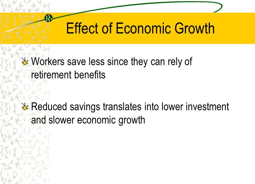 Effect of Economic Growth Workers save less since they can rely of retirement benefits Reduced savings translates into lower investment and slower economic growth
