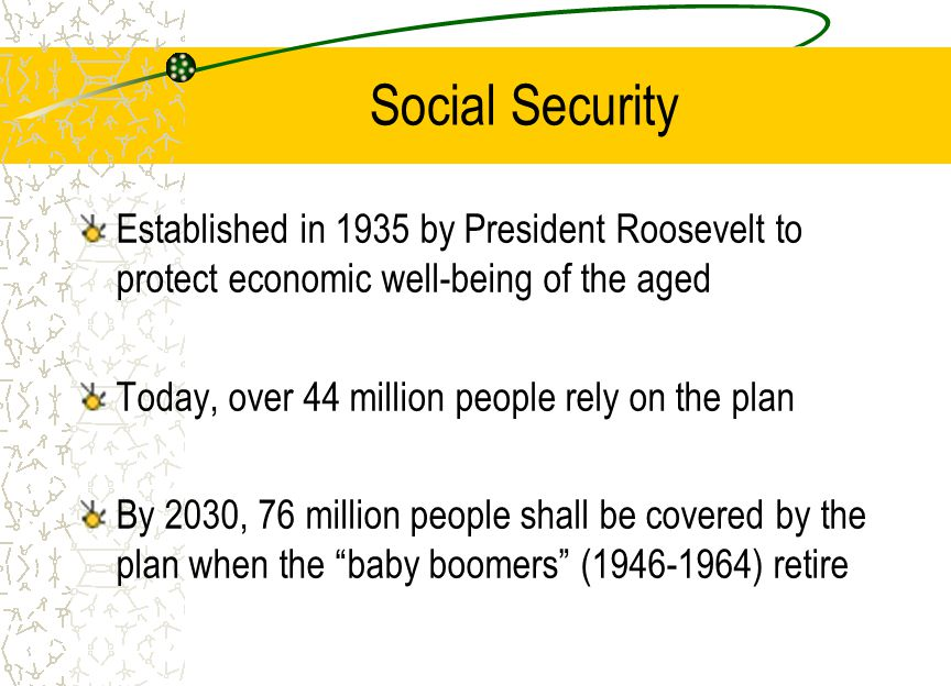 Social Security Established in 1935 by President Roosevelt to protect economic well-being of the aged Today, over 44 million people rely on the plan By 2030, 76 million people shall be covered by the plan when the baby boomers ( ) retire