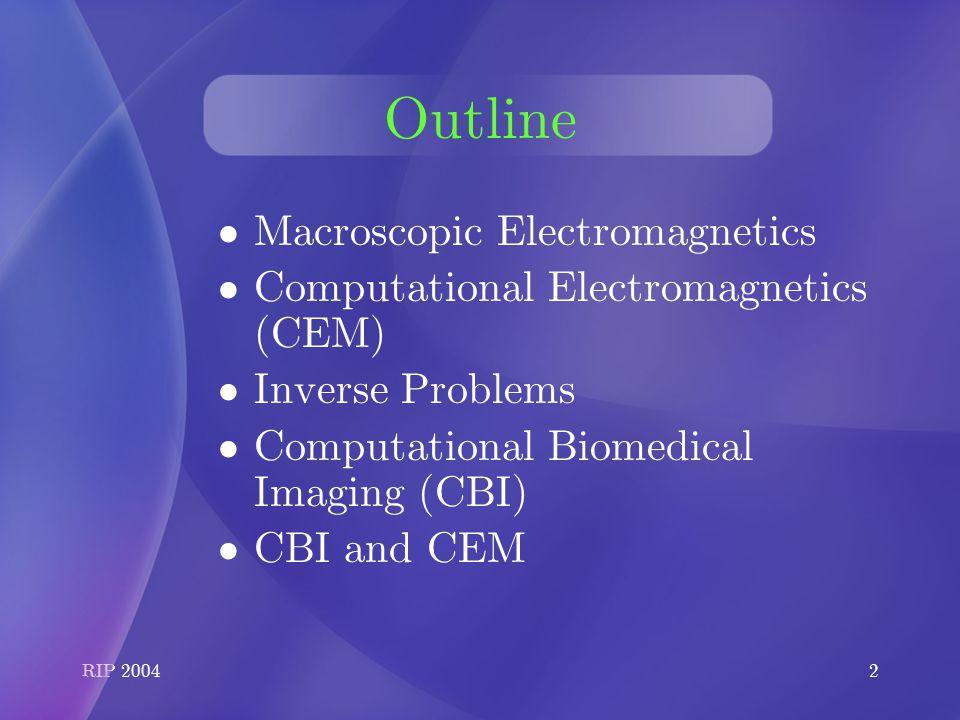 RIP Computational Electromagnetics & Computational Bioimaging