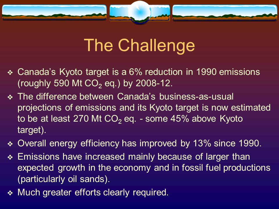 The Challenge  Canada's Kyoto target is a 6% reduction in 1990 emissions (roughly 590 Mt CO 2 eq.) by