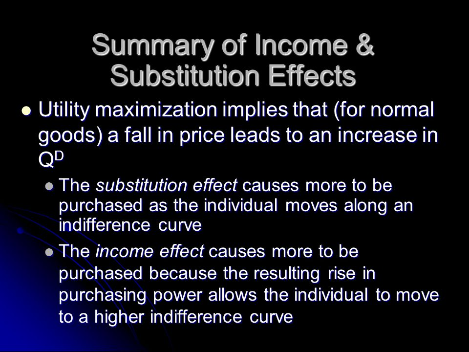 Summary of Income & Substitution Effects Utility maximization implies that (for normal goods) a fall in price leads to an increase in Q D Utility maximization implies that (for normal goods) a fall in price leads to an increase in Q D The substitution effect causes more to be purchased as the individual moves along an indifference curve The substitution effect causes more to be purchased as the individual moves along an indifference curve The income effect causes more to be purchased because the resulting rise in purchasing power allows the individual to move to a higher indifference curve The income effect causes more to be purchased because the resulting rise in purchasing power allows the individual to move to a higher indifference curve
