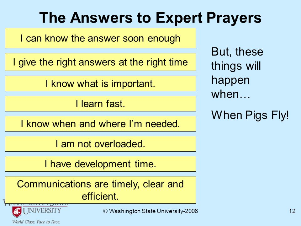 © Washington State University The Answers to Expert Prayers I can know the answer soon enough I give the right answers at the right time I know what is important.