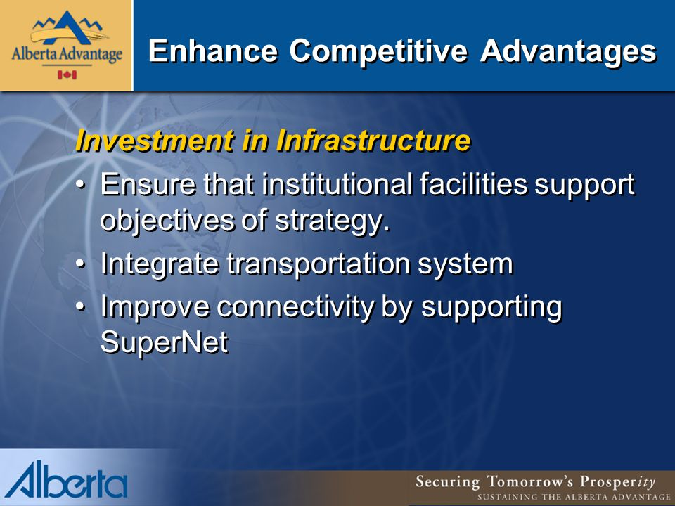 Enhance Competitive Advantages Investment in Infrastructure Ensure that institutional facilities support objectives of strategy.