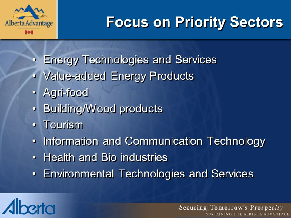 Focus on Priority Sectors Energy Technologies and Services Value-added Energy Products Agri-food Building/Wood products Tourism Information and Communication Technology Health and Bio industries Environmental Technologies and Services Energy Technologies and Services Value-added Energy Products Agri-food Building/Wood products Tourism Information and Communication Technology Health and Bio industries Environmental Technologies and Services