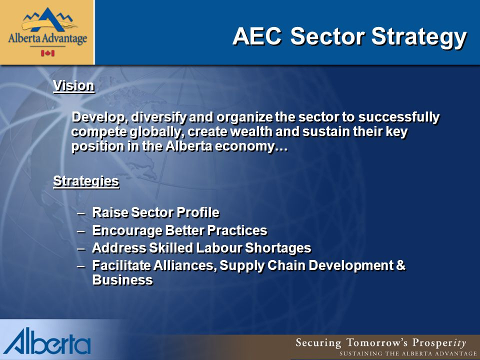 AEC Sector Strategy Vision Develop, diversify and organize the sector to successfully compete globally, create wealth and sustain their key position in the Alberta economy… Strategies –Raise Sector Profile –Encourage Better Practices –Address Skilled Labour Shortages –Facilitate Alliances, Supply Chain Development & Business Vision Develop, diversify and organize the sector to successfully compete globally, create wealth and sustain their key position in the Alberta economy… Strategies –Raise Sector Profile –Encourage Better Practices –Address Skilled Labour Shortages –Facilitate Alliances, Supply Chain Development & Business