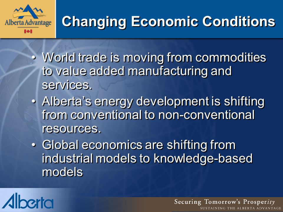 Changing Economic Conditions World trade is moving from commodities to value added manufacturing and services.