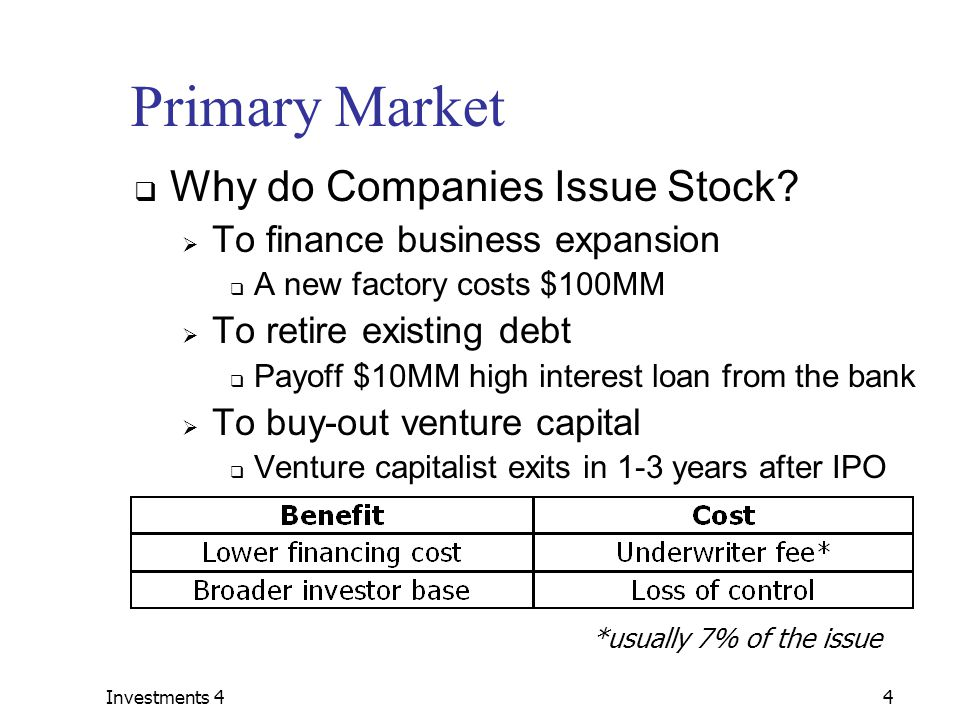 Investments 44 Primary Market  Why do Companies Issue Stock.