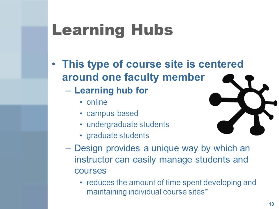 10 This type of course site is centered around one faculty member –Learning hub for online campus-based undergraduate students graduate students –Design provides a unique way by which an instructor can easily manage students and courses reduces the amount of time spent developing and maintaining individual course sites* Learning Hubs
