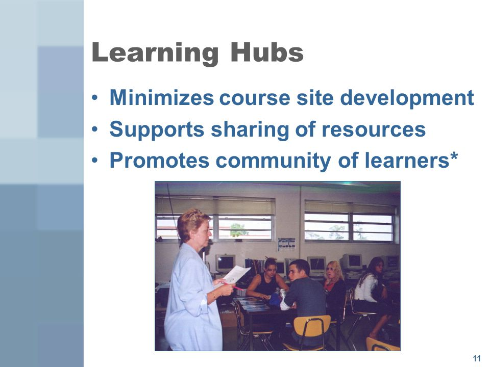 11 Learning Hubs Minimizes course site development Supports sharing of resources Promotes community of learners*