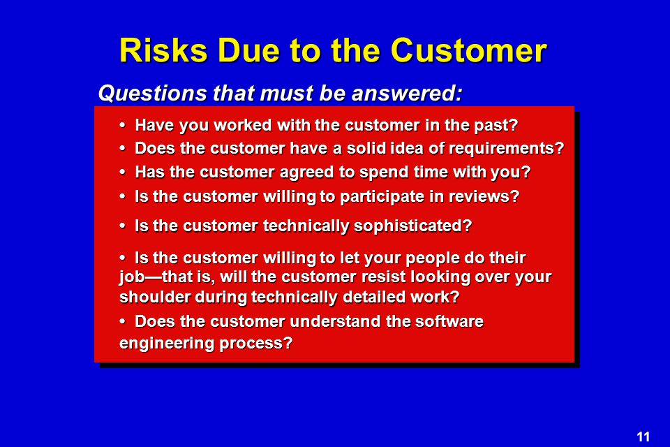 11 Risks Due to the Customer Have you worked with the customer in the past.