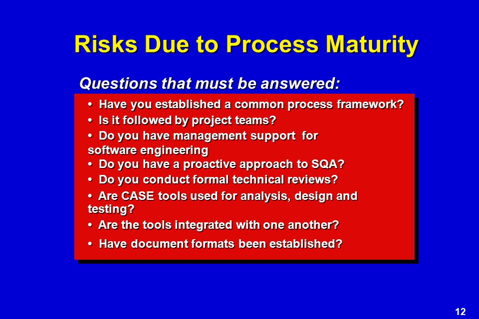 12 Risks Due to Process Maturity Have you established a common process framework.