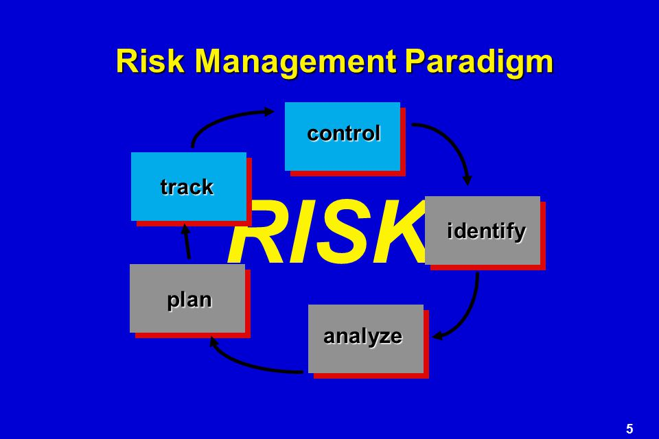 5 RISK Risk Management Paradigm control identify analyze plan track
