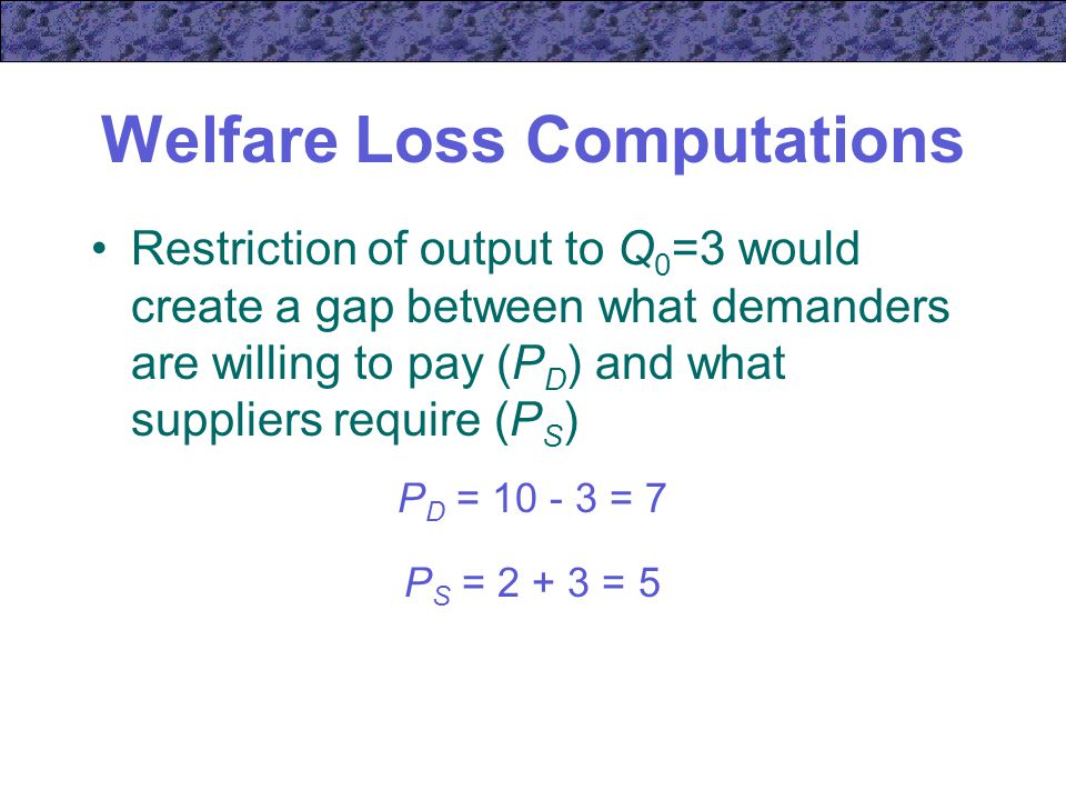 Welfare Loss Computations Restriction of output to Q 0 =3 would create a gap between what demanders are willing to pay (P D ) and what suppliers require (P S ) P D = = 7 P S = = 5