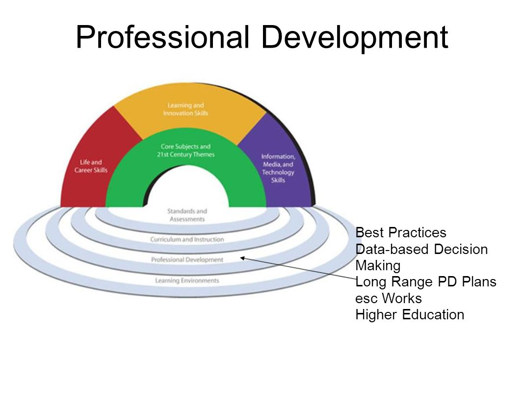 Professional Development Best Practices Data-based Decision Making Long Range PD Plans esc Works Higher Education