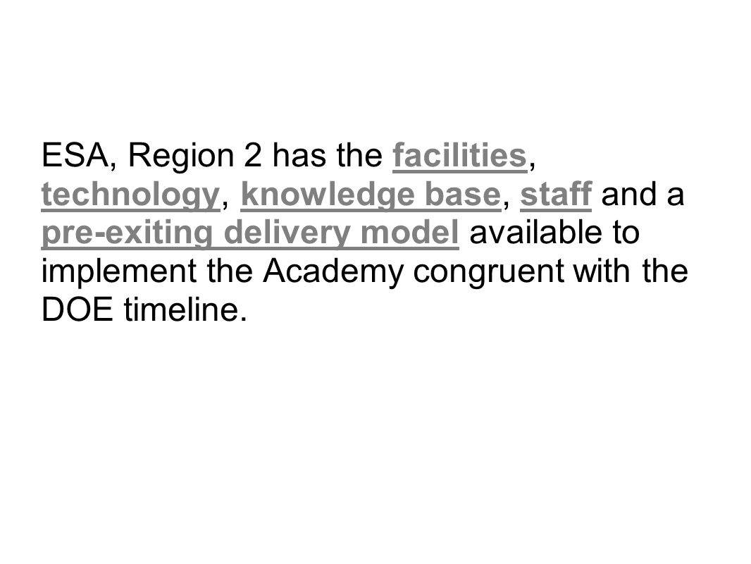 ESA, Region 2 has the facilities, technology, knowledge base, staff and a pre-exiting delivery model available to implement the Academy congruent with the DOE timeline.