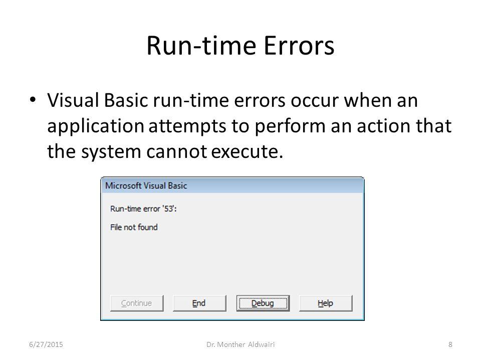 Visual Basic Debugging Tools Appendix D 6/27/20151Dr
