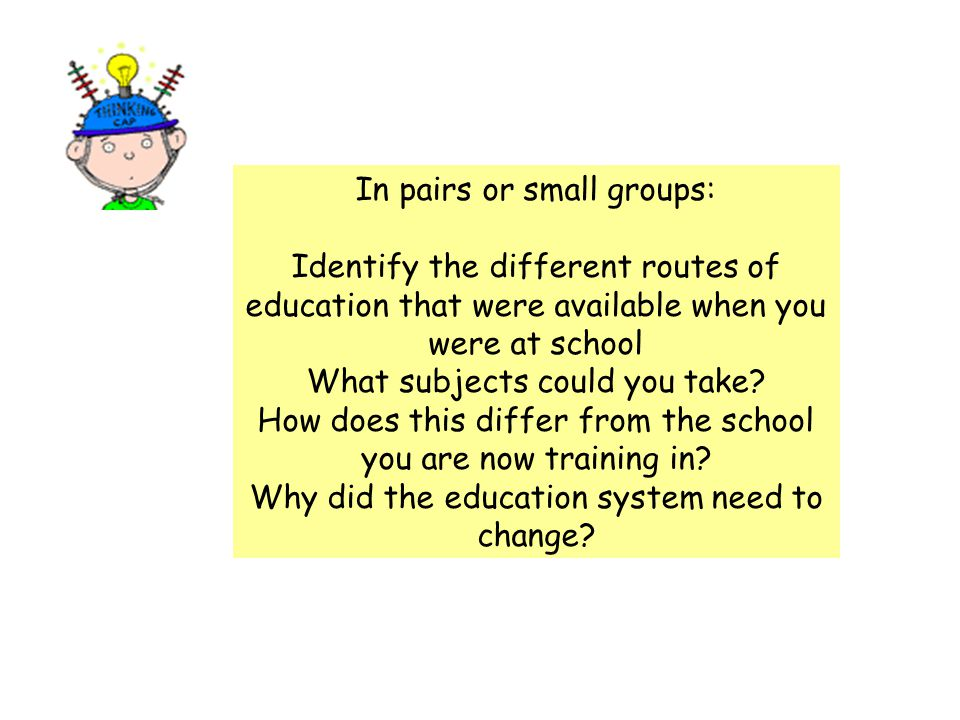 In pairs or small groups: Identify the different routes of education that were available when you were at school What subjects could you take.