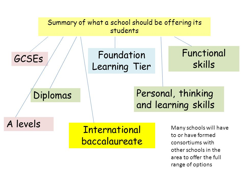 Summary of what a school should be offering its students GCSEs Diplomas Foundation Learning Tier Functional skills Personal, thinking and learning skills A levels International baccalaureate Many schools will have to or have formed consortiums with other schools in the area to offer the full range of options