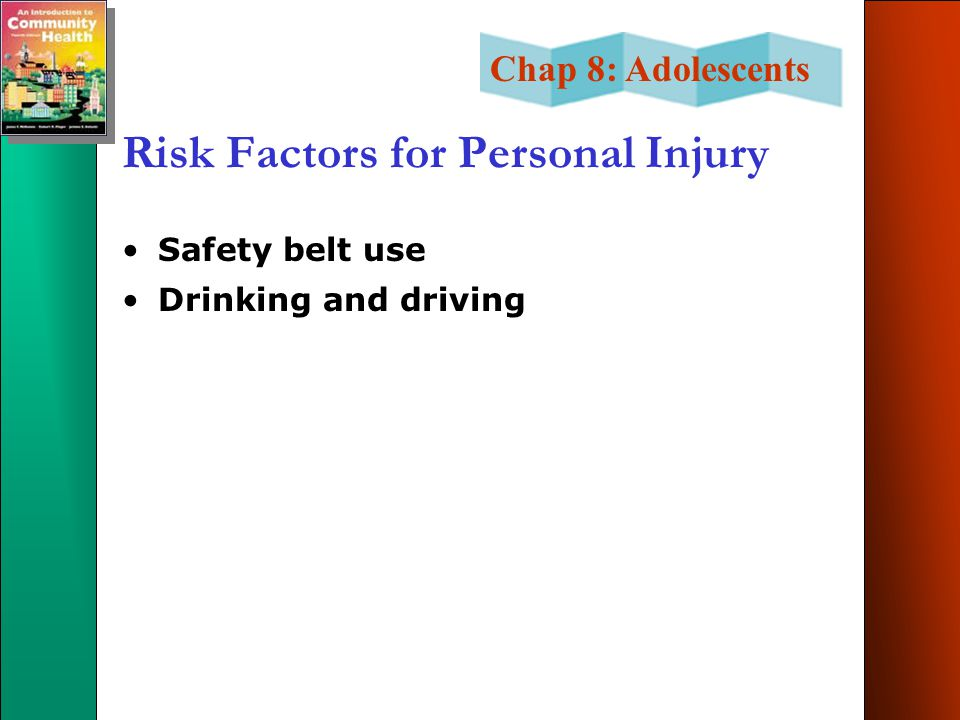 Chap 8: Adolescents Risk Factors for Personal Injury Safety belt use Drinking and driving