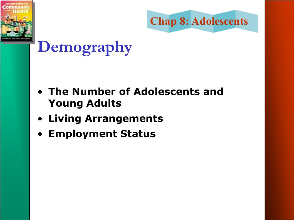 Chap 8: Adolescents Demography The Number of Adolescents and Young Adults Living Arrangements Employment Status