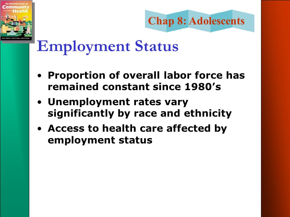 Chap 8: Adolescents Employment Status Proportion of overall labor force has remained constant since 1980's Unemployment rates vary significantly by race and ethnicity Access to health care affected by employment status