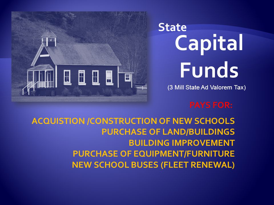 Capital Funds PAYS FOR: ACQUISTION /CONSTRUCTION OF NEW SCHOOLS PURCHASE OF LAND/BUILDINGS BUILDING IMPROVEMENT PURCHASE OF EQUIPMENT/FURNITURE NEW SCHOOL BUSES (FLEET RENEWAL) State (3 Mill State Ad Valorem Tax)
