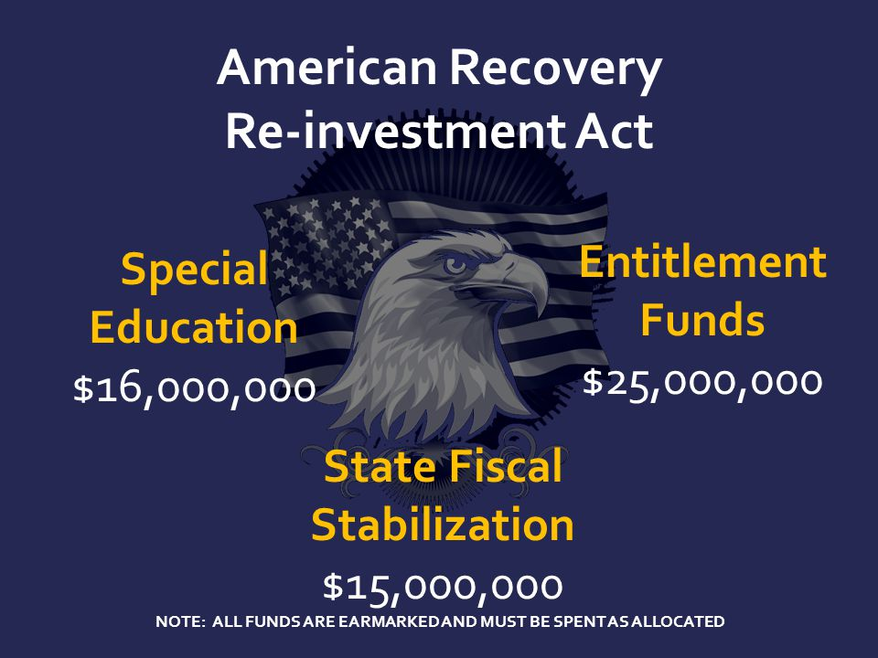 American Recovery Re-investment Act Special Education $16,000,000 State Fiscal Stabilization $15,000,000 Entitlement Funds $25,000,000 NOTE: ALL FUNDS ARE EARMARKED AND MUST BE SPENT AS ALLOCATED
