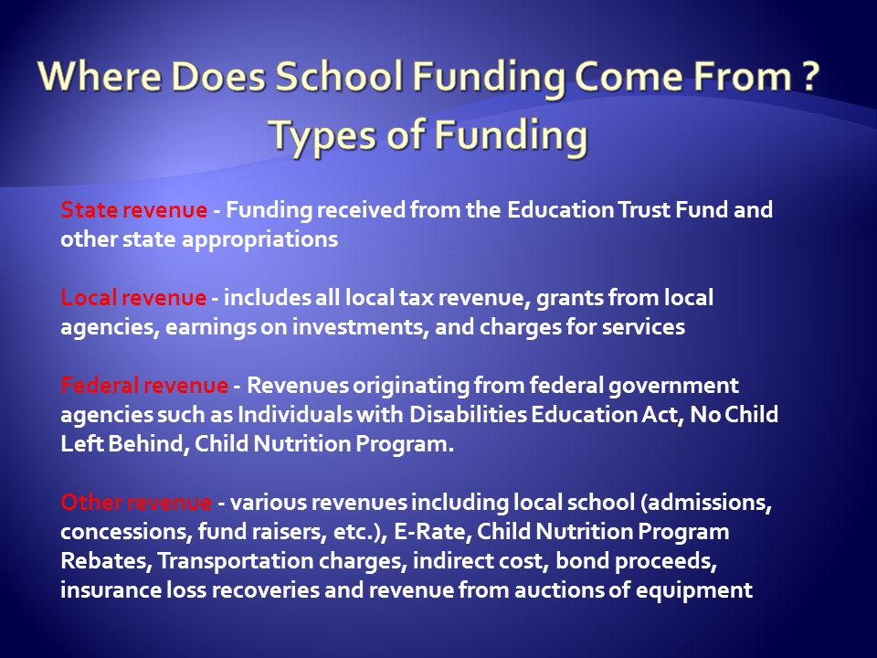 State revenue - Funding received from the Education Trust Fund and other state appropriations Local revenue - includes all local tax revenue, grants from local agencies, earnings on investments, and charges for services Federal revenue - Revenues originating from federal government agencies such as Individuals with Disabilities Education Act, No Child Left Behind, Child Nutrition Program.